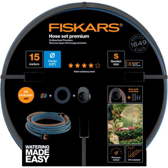 """FISKARS Comfort locsolótömlő + tároló szett 13 mm (1/2"""") 15 m Q4 + AJÁNDÉK KULACS"""