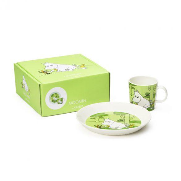 ARABIA MOOMIN tányér & bögre szett, Moomintroll, zöld